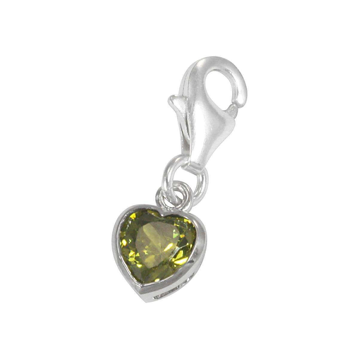 Sterling Silver Peridot Heart Crystal Clip on Charm