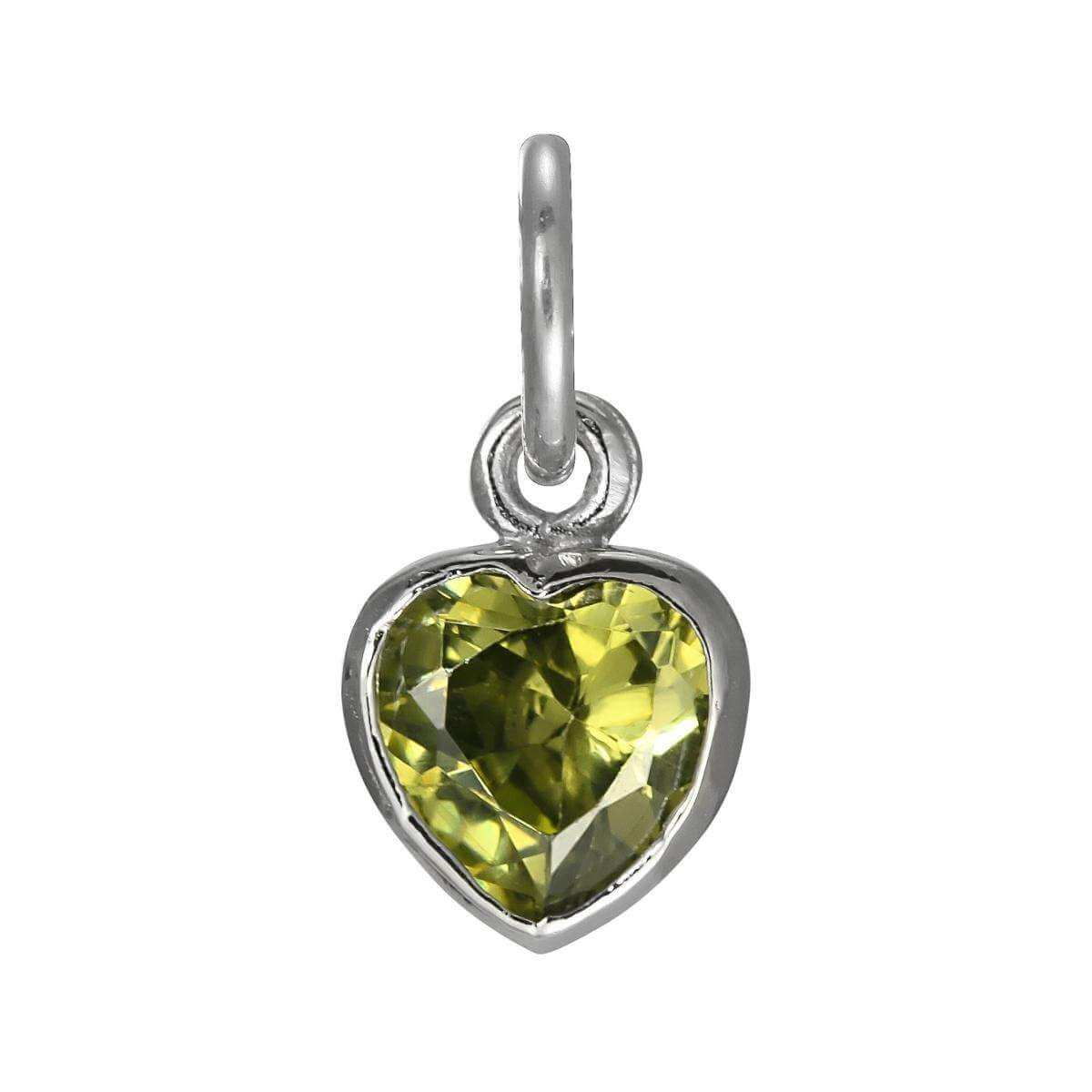 Sterling Silver Peridot Heart Crystal Charm