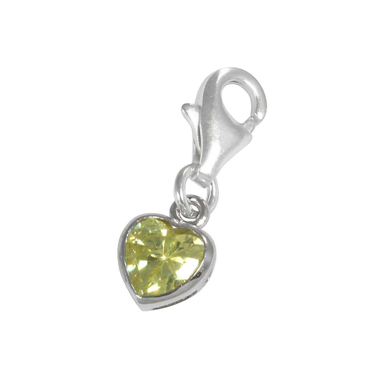 Sterling Silver Citrine Heart Crystal Clip on Charm