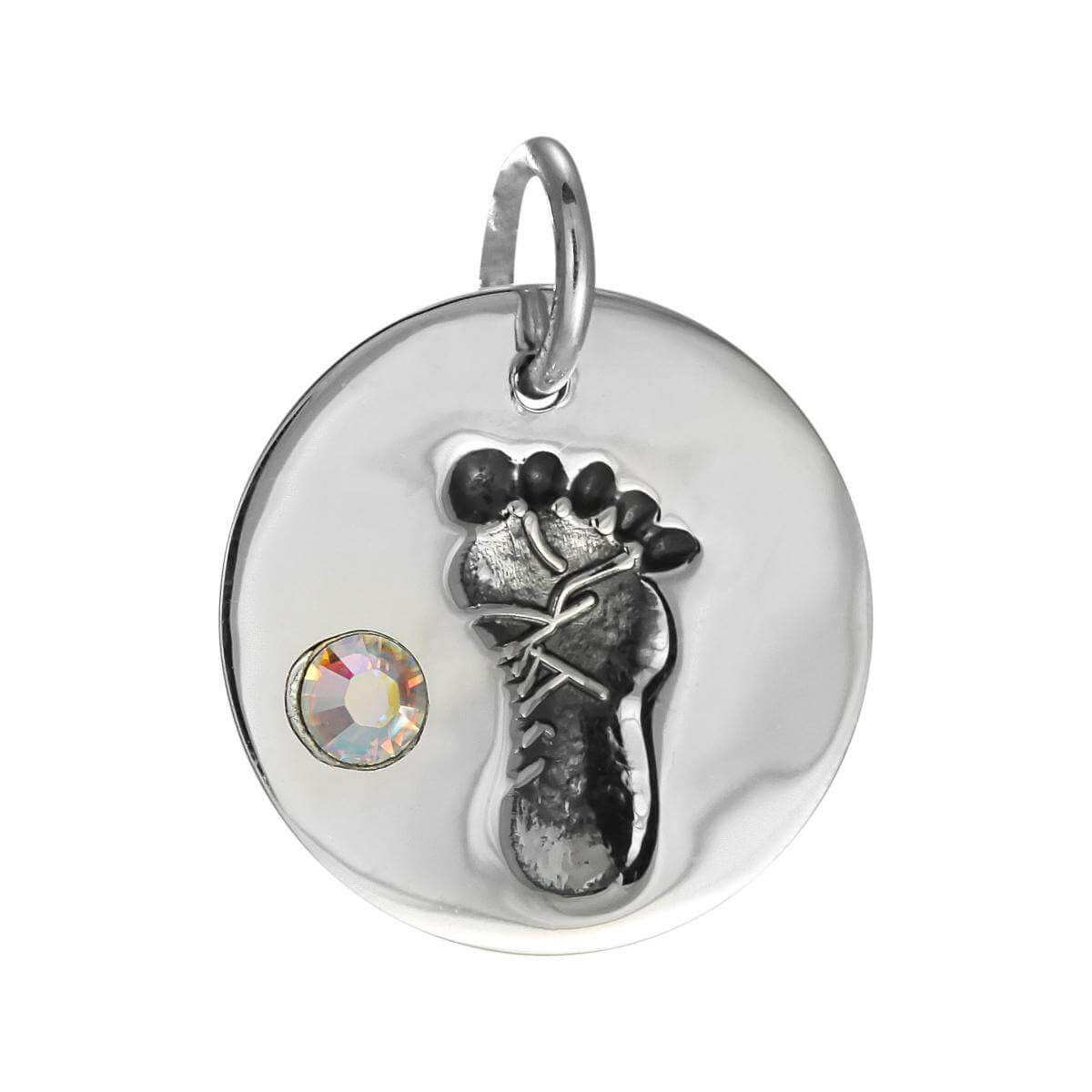 Sterling Silver April Footprint Charm