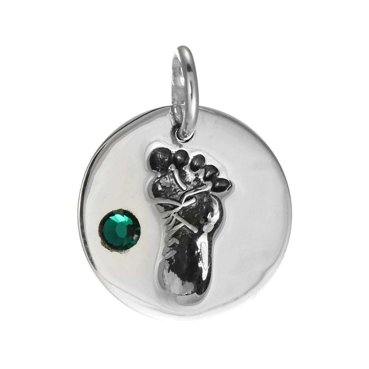 Sterling Silver May Footprint Charm