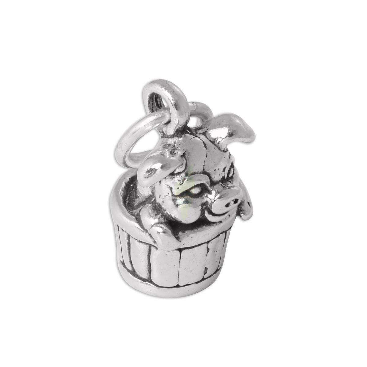 Sterling Silver 3D Pig in Barrel Charm