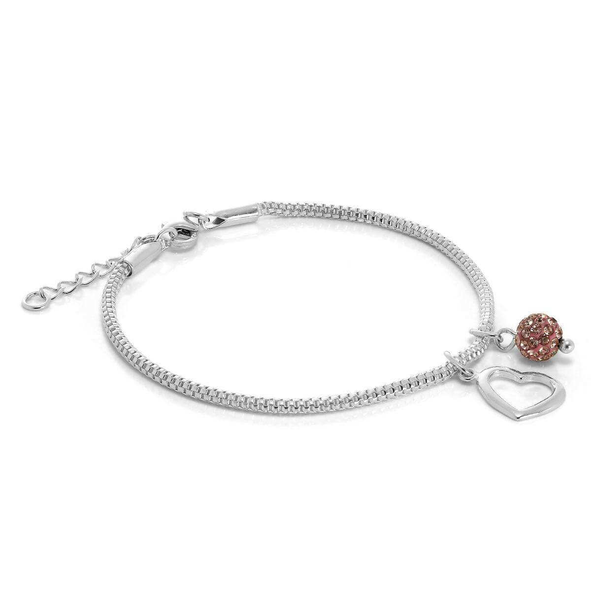 Sterling Silver Snake Bracelet with Open Heart & CZ Crystal Ball Charms