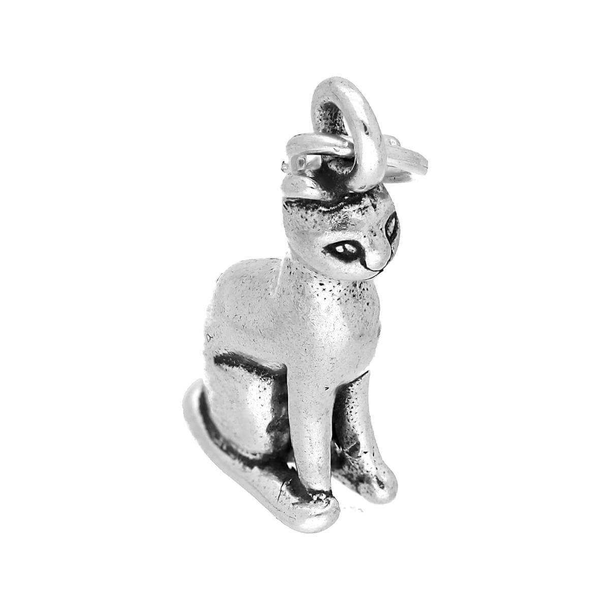 Sterling Silver Sitting Cat Charm