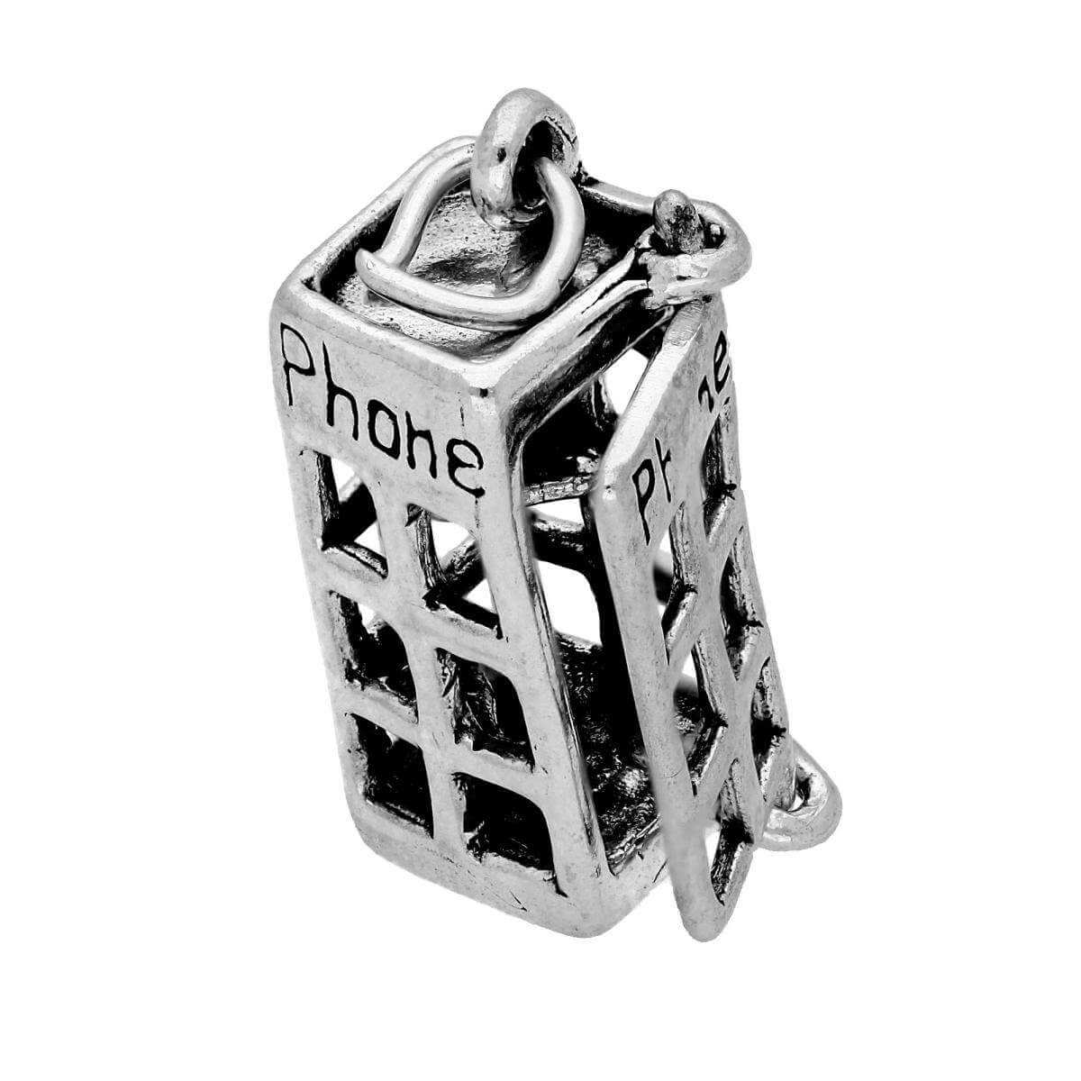 Sterling Silver Phone Box Opening Charm