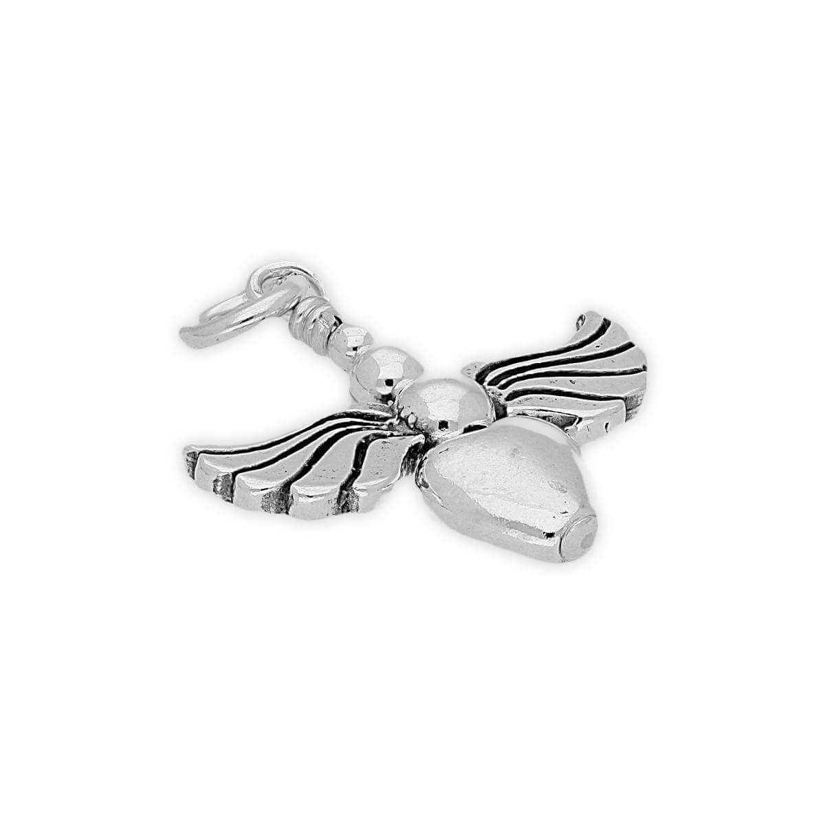 Sterling Silver Heart Beaded Angel Charm