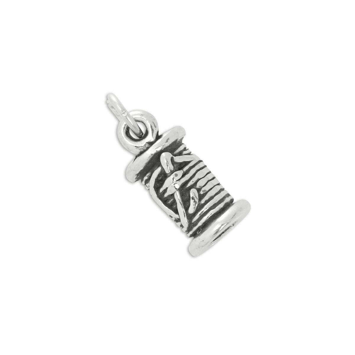 Sterling Silver Spool of Thread With Needle Charm