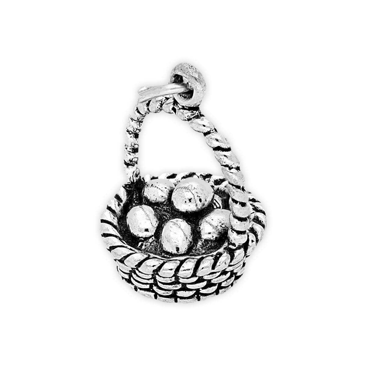 Sterling Silver Eggs in Basket Charm