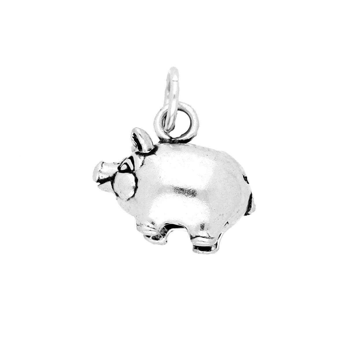 Sterling Silver Piggy Bank Charm