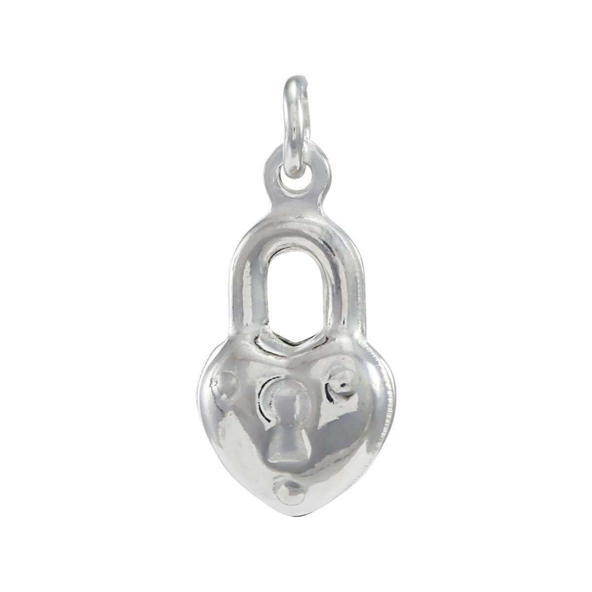 Sterling Silver Puffed Heart Padlock Charm
