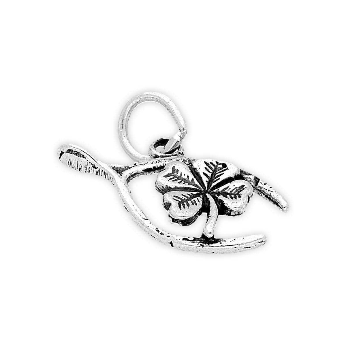 Sterling Silver Wishbone and Clover Charm