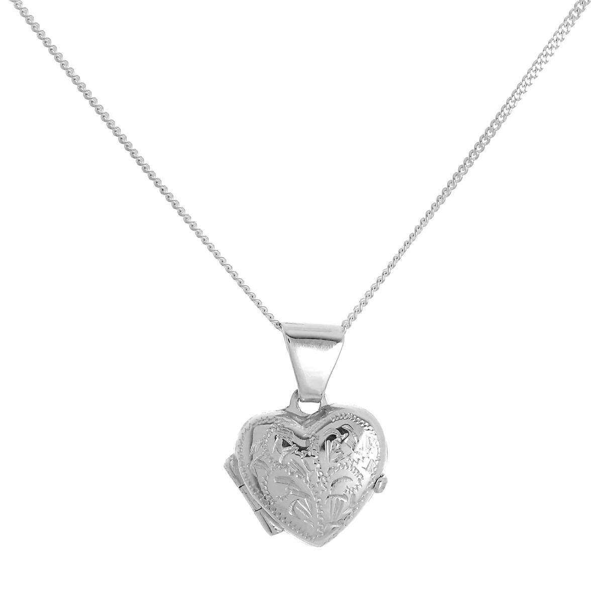 Tiny Sterling Silver Engraved Heart Locket on Chain