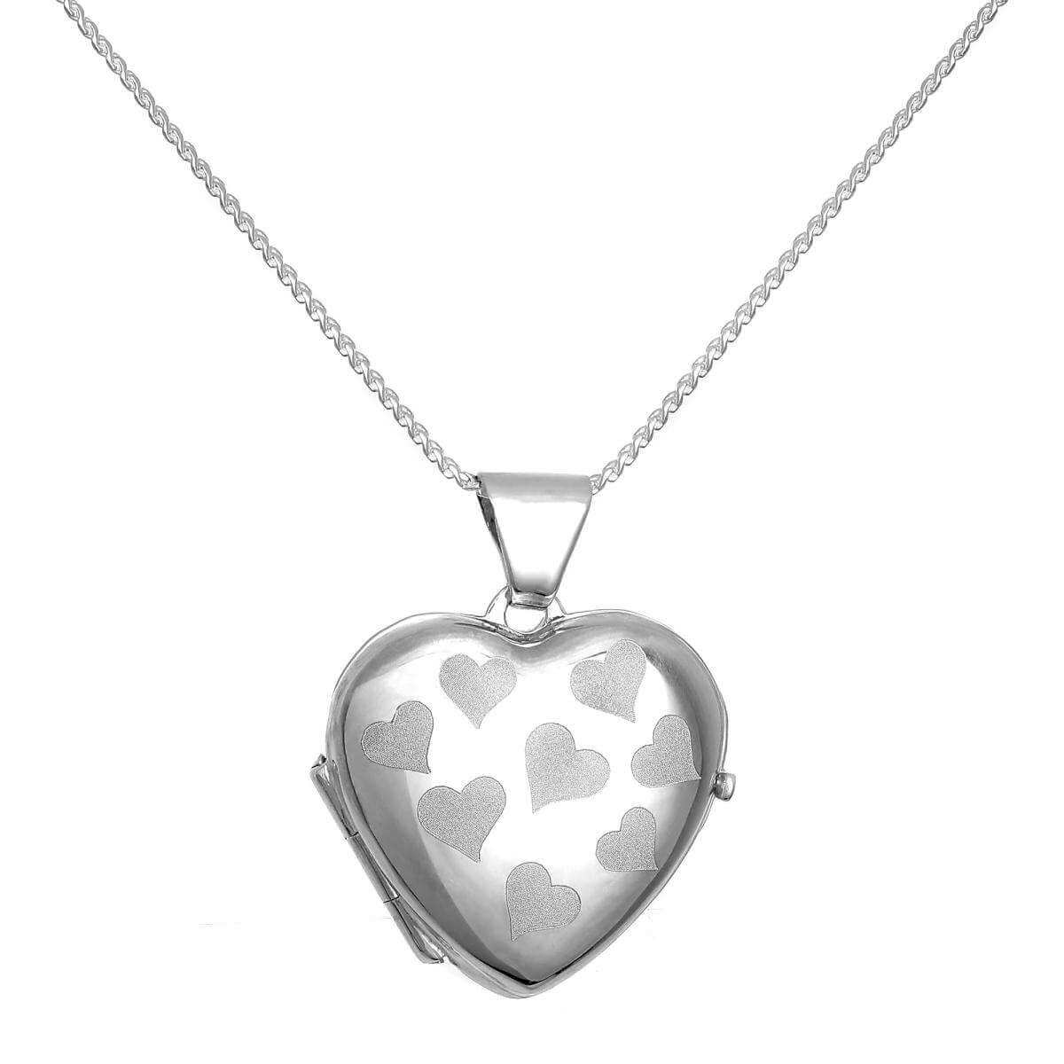 Sterling Silver Heart Locket with Matt Hearts on Chain