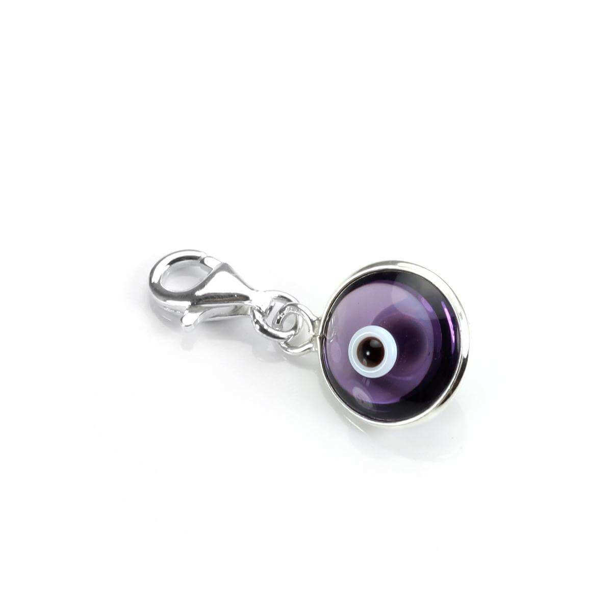 Sterling Silver & Purple Glass Evil Eye Clip on Charm