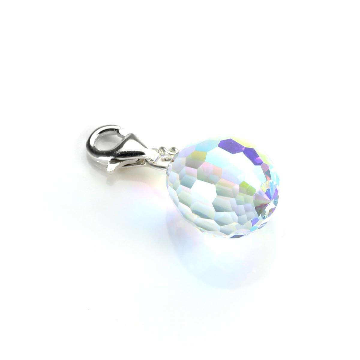 Sterling Silver Egg Shaped Aurora Borealis Crystal Clip on Charm