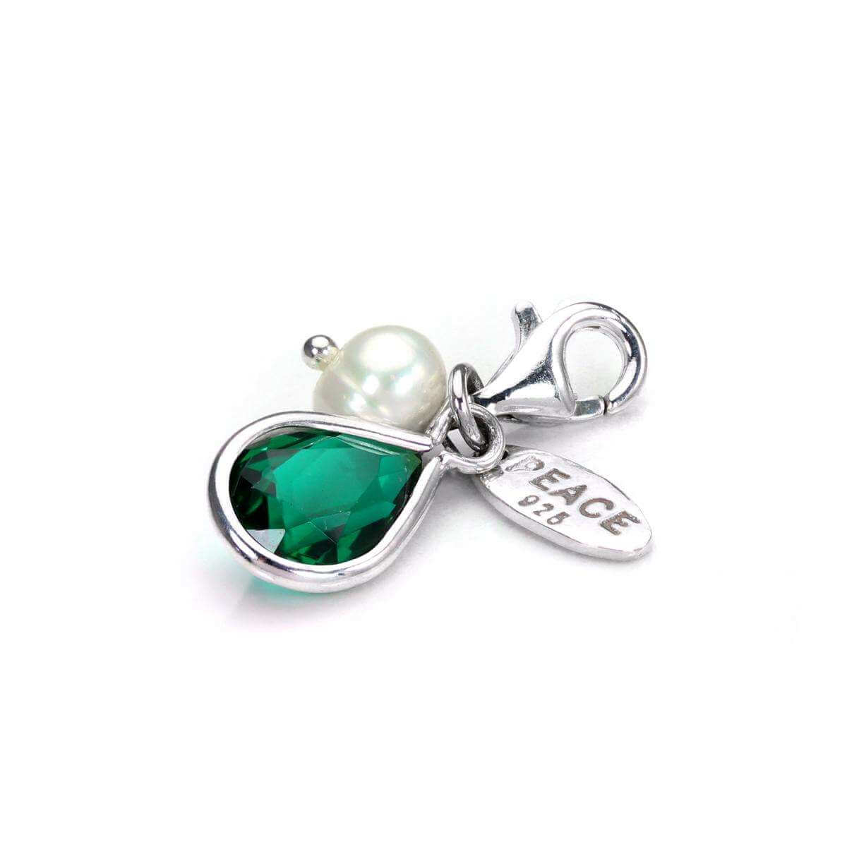 Sterling Silver Emerald CZ Crystal & White Freshwater Pearl Clip-on Charm