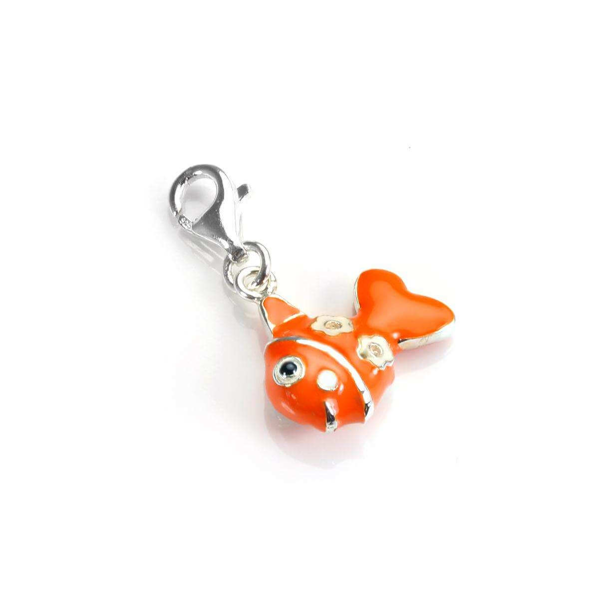 Sterling Silver & Enamel Cute Fish Clip on Charm