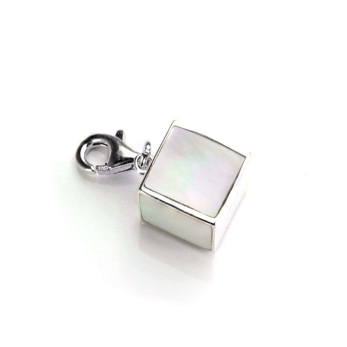 Sterling Silver & Mother of Pearl Cube Clip on Charm