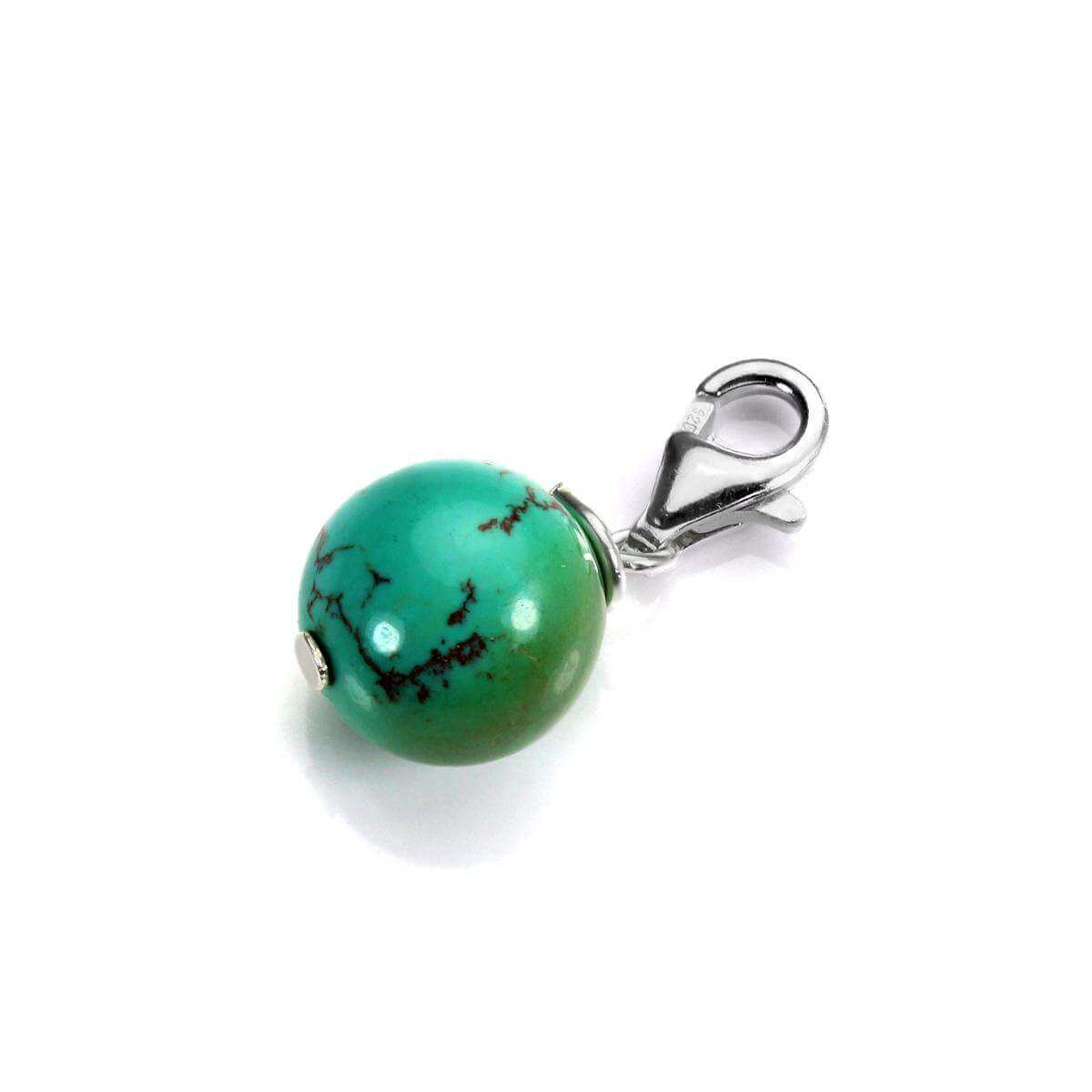 Sterling Silver & 10mm Turquoise Bead Clip on Charm