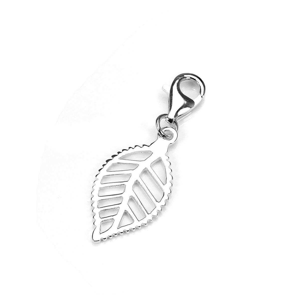 Sterling Silver Cut Out Leaf Clip on Charm - Silver