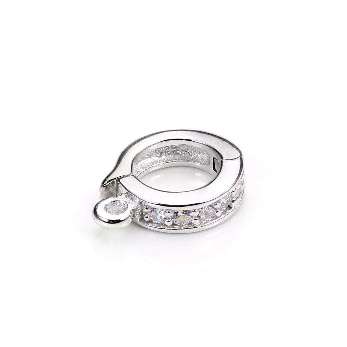 Sterling Silver 5.8mm Crystal Hinged Hanger Bead