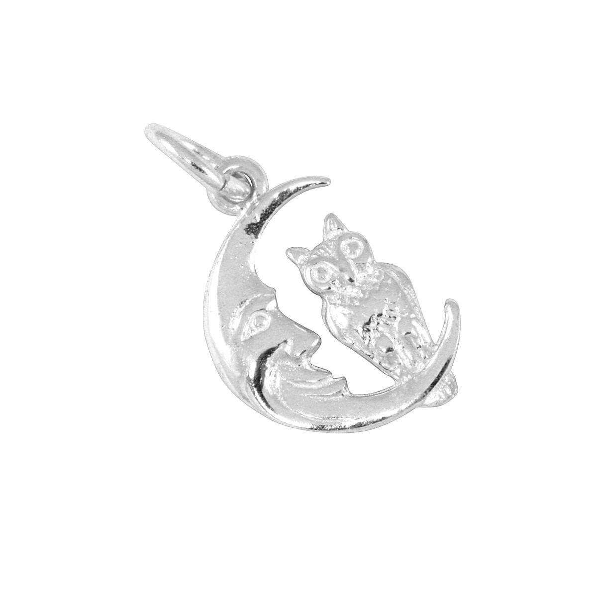 Sterling Silver Owl in Moon Charm