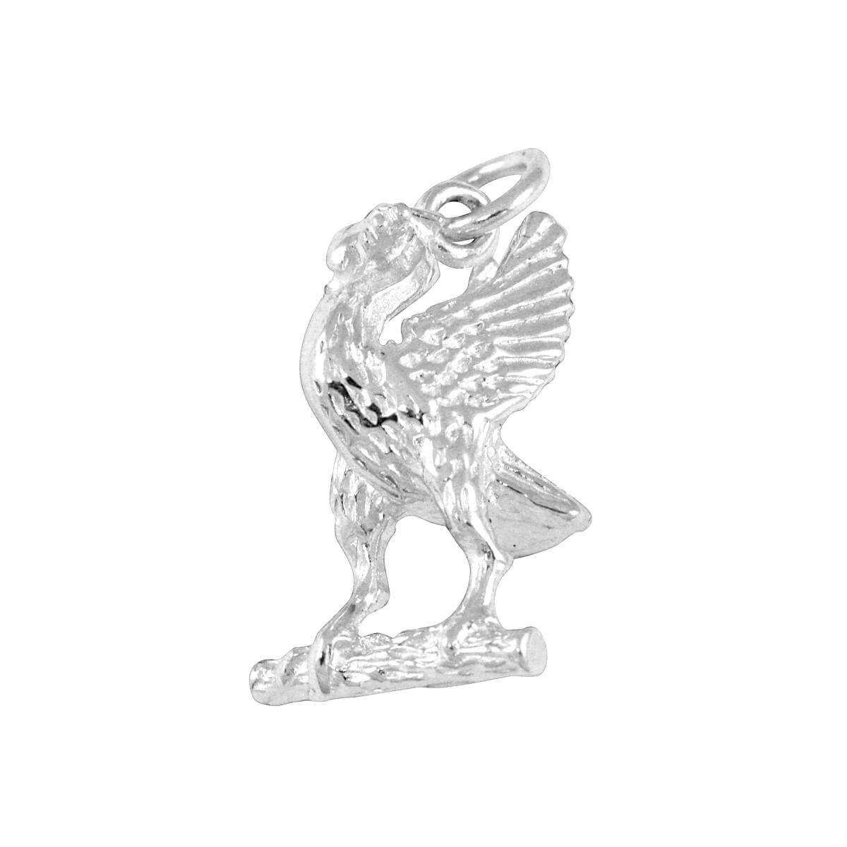 Sterling Silver Liver Bird on Branch Charm