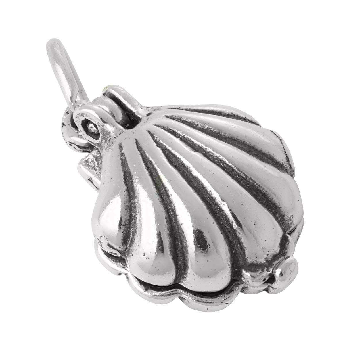 Sterling Silver Moveable Shell Charm With Faux Pearl