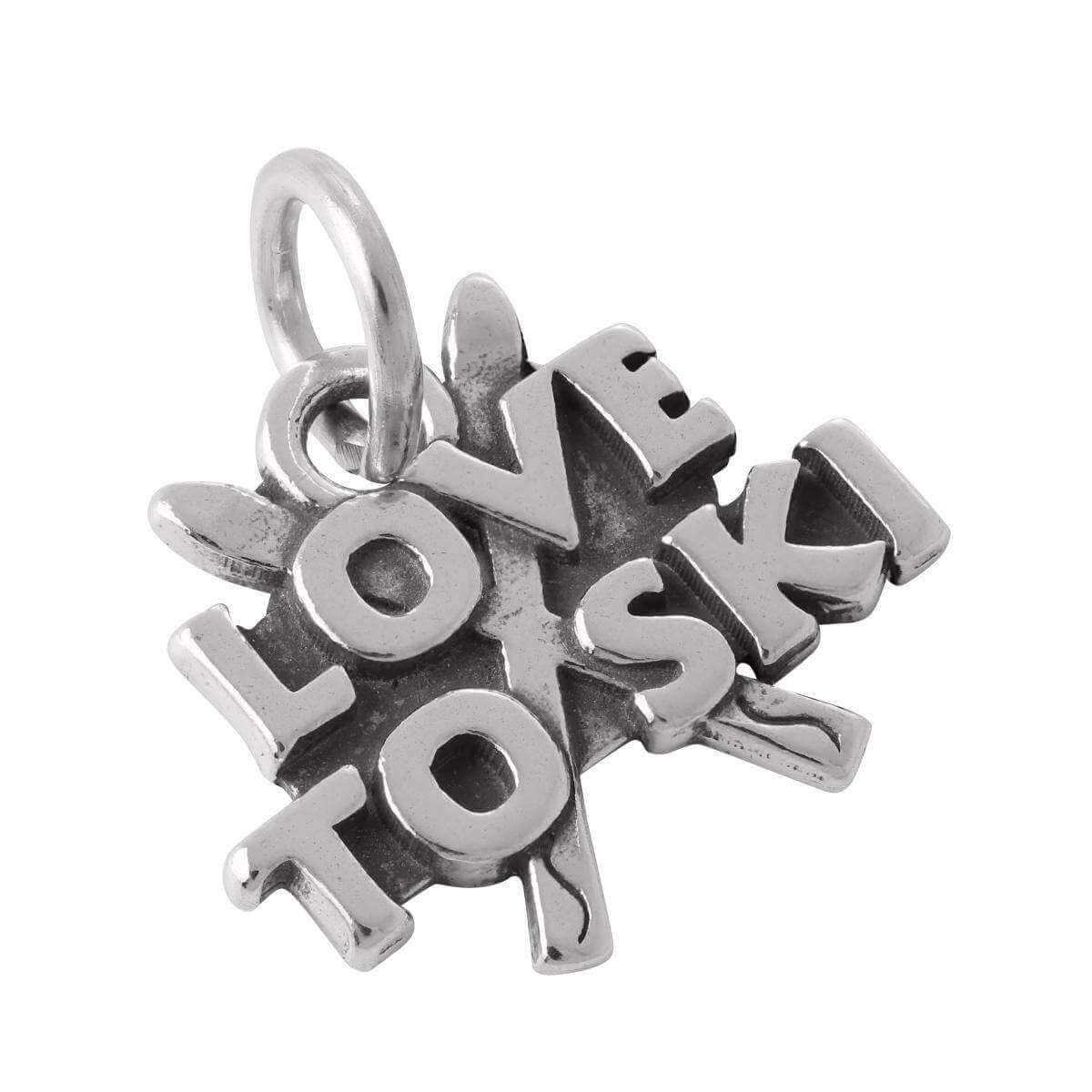 Sterling Silver Love to Ski Charm