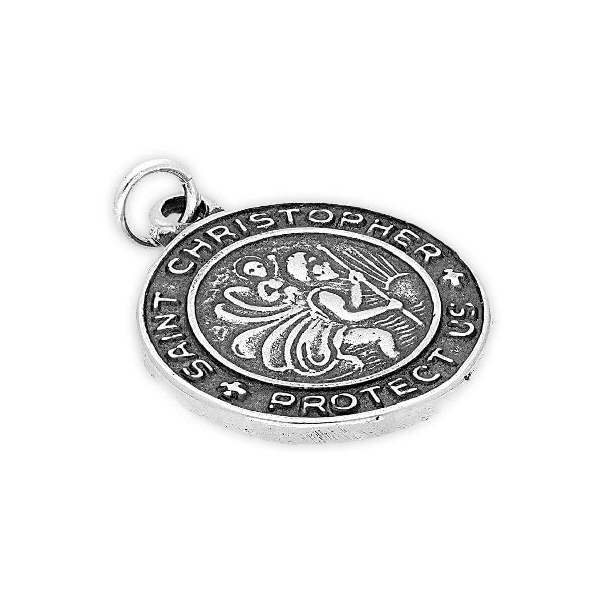 Sterling Silver Round St Christopher Charm