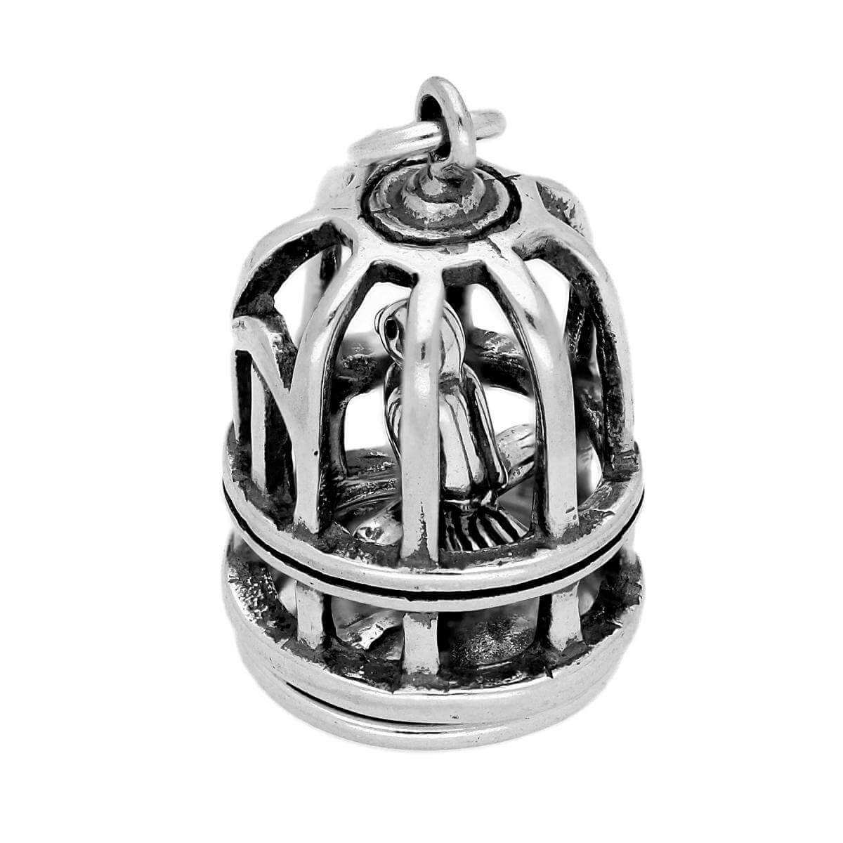Sterling Silver Bird Cage With Bird Charm