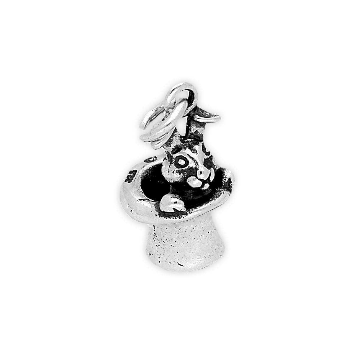 Sterling Silver Magic Rabbit in Hat Charm