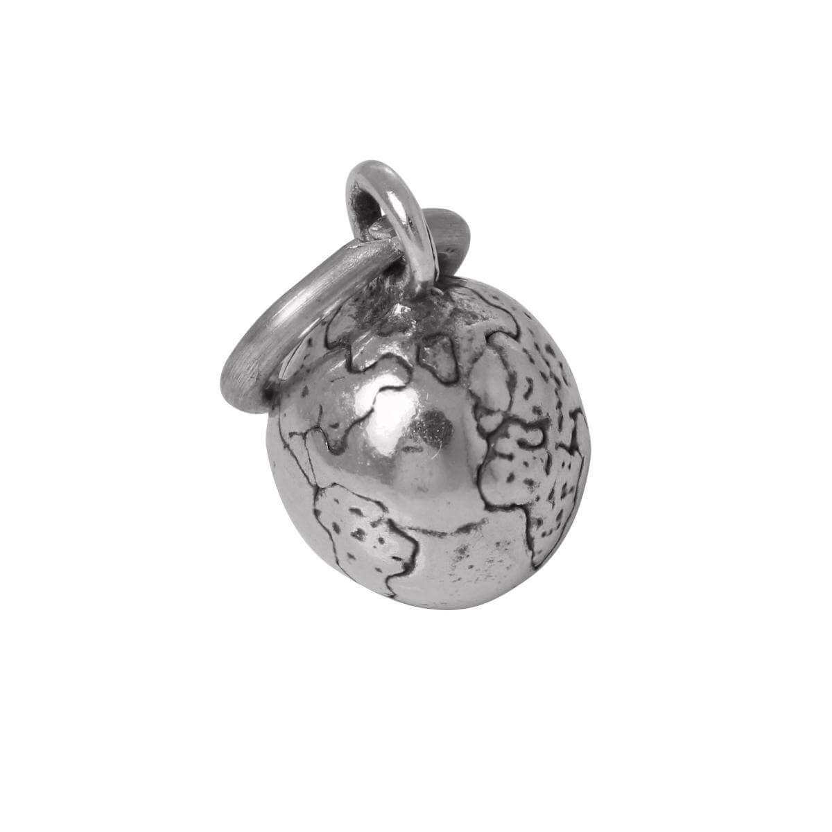Sterling Silver 3D Globe Charm