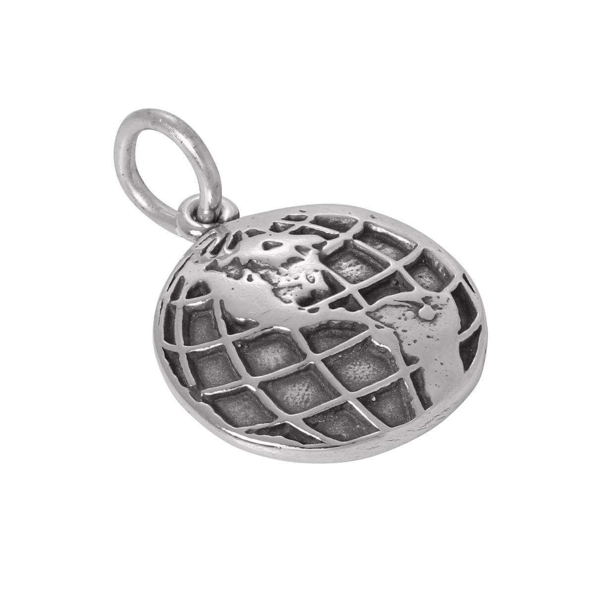 Sterling Silver 2D Globe Charm