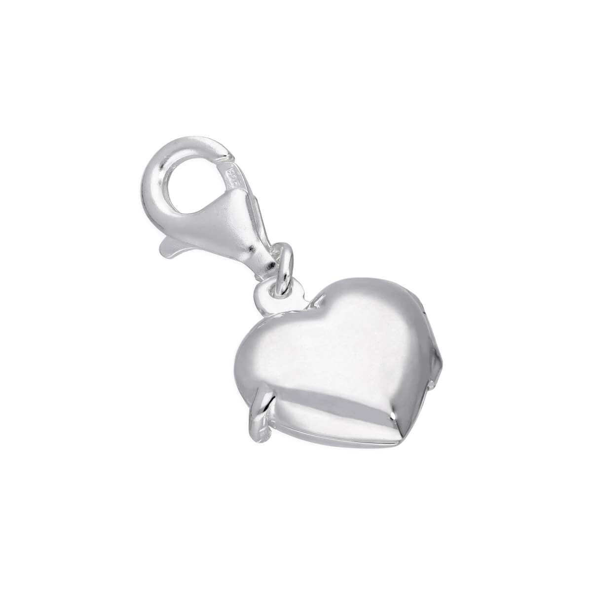 Sterling Silver Engravable Heart Locket Clip on Charm