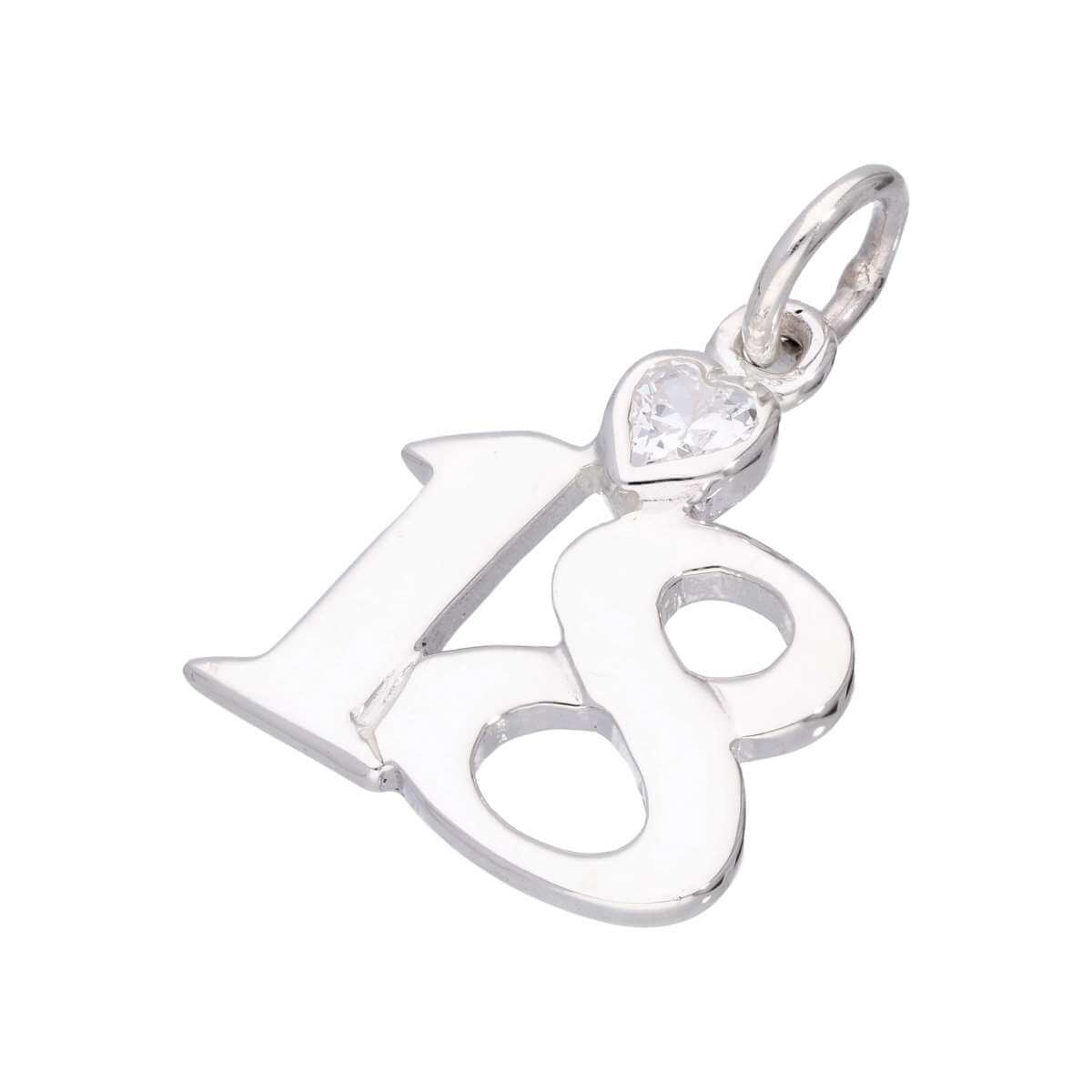 Sterling Silver 18 Charm with Clear CZ Crystal Heart