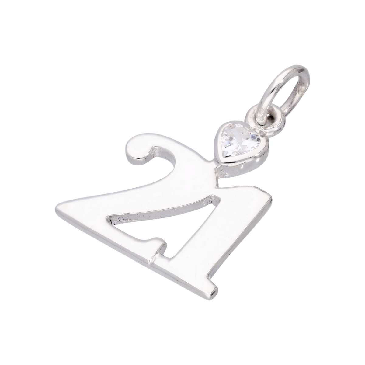 Sterling Silver 21 Charm with Clear CZ Crystal Heart