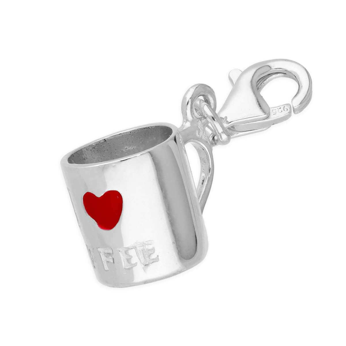 Sterling Silver 3D 'I Love Coffee' Mug Clip on Charm