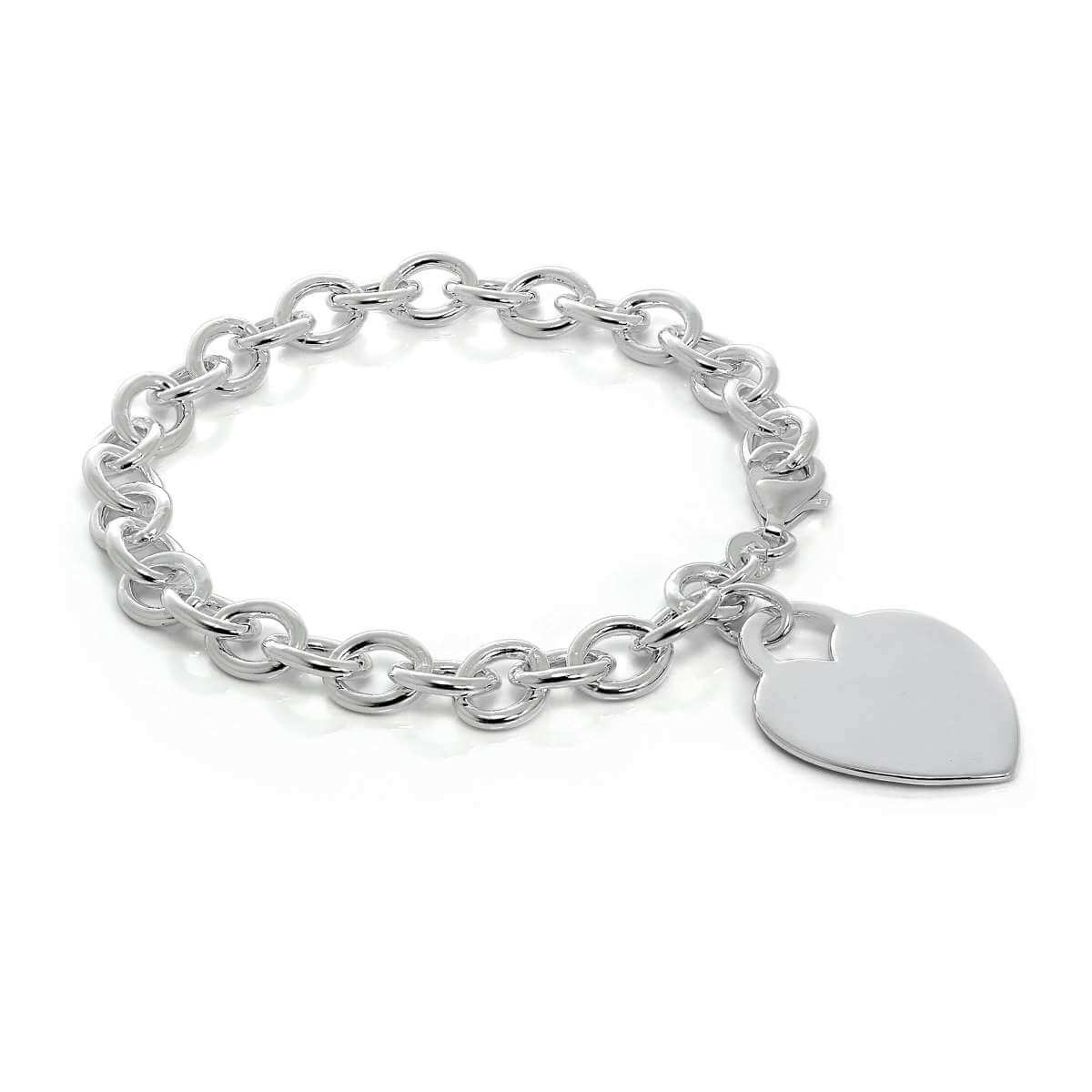 Sterling Silver 7 Inch Charm Bracelet with Large Engravable Heart Tag