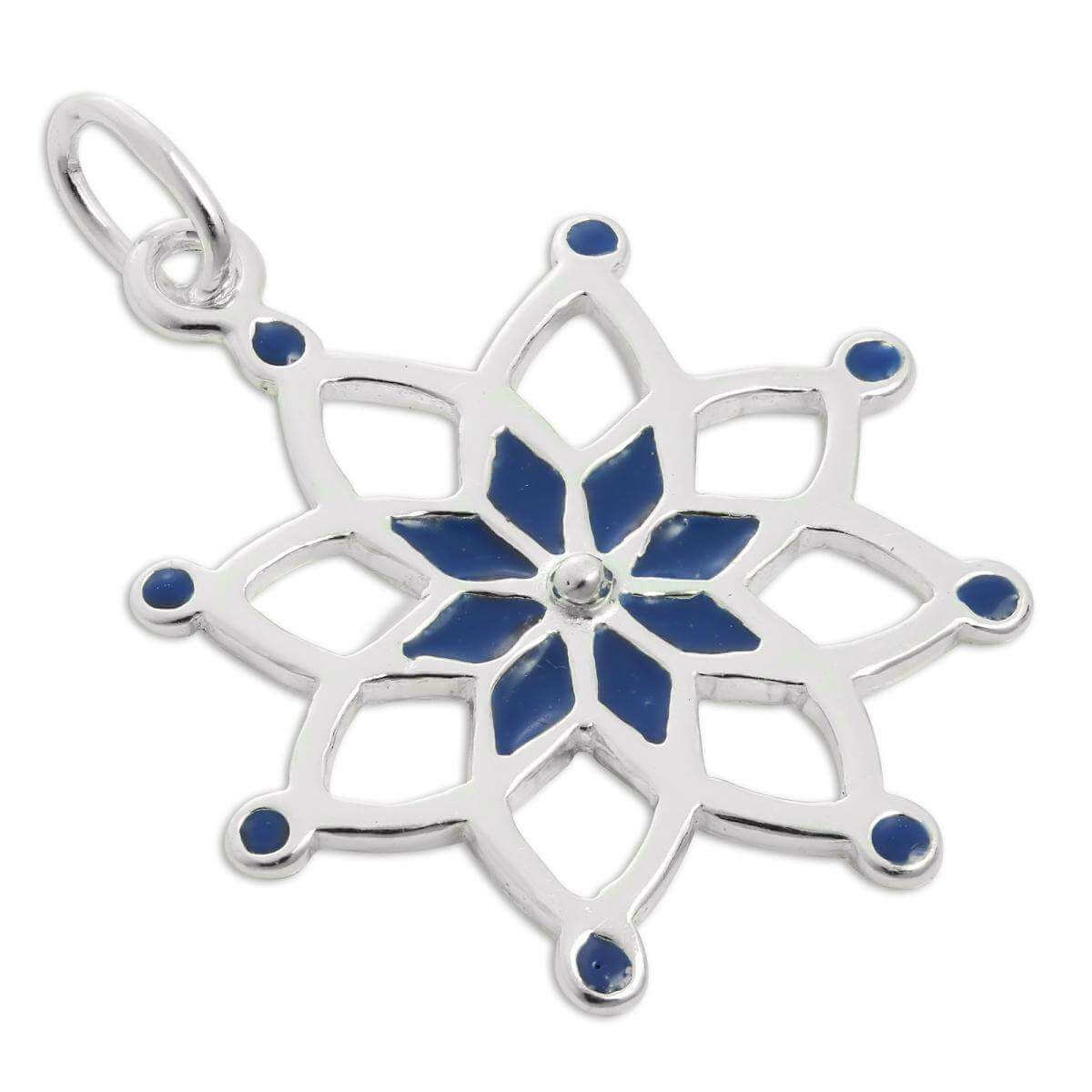 Sterling Silver & Blue Enamel Dream Catcher Charm