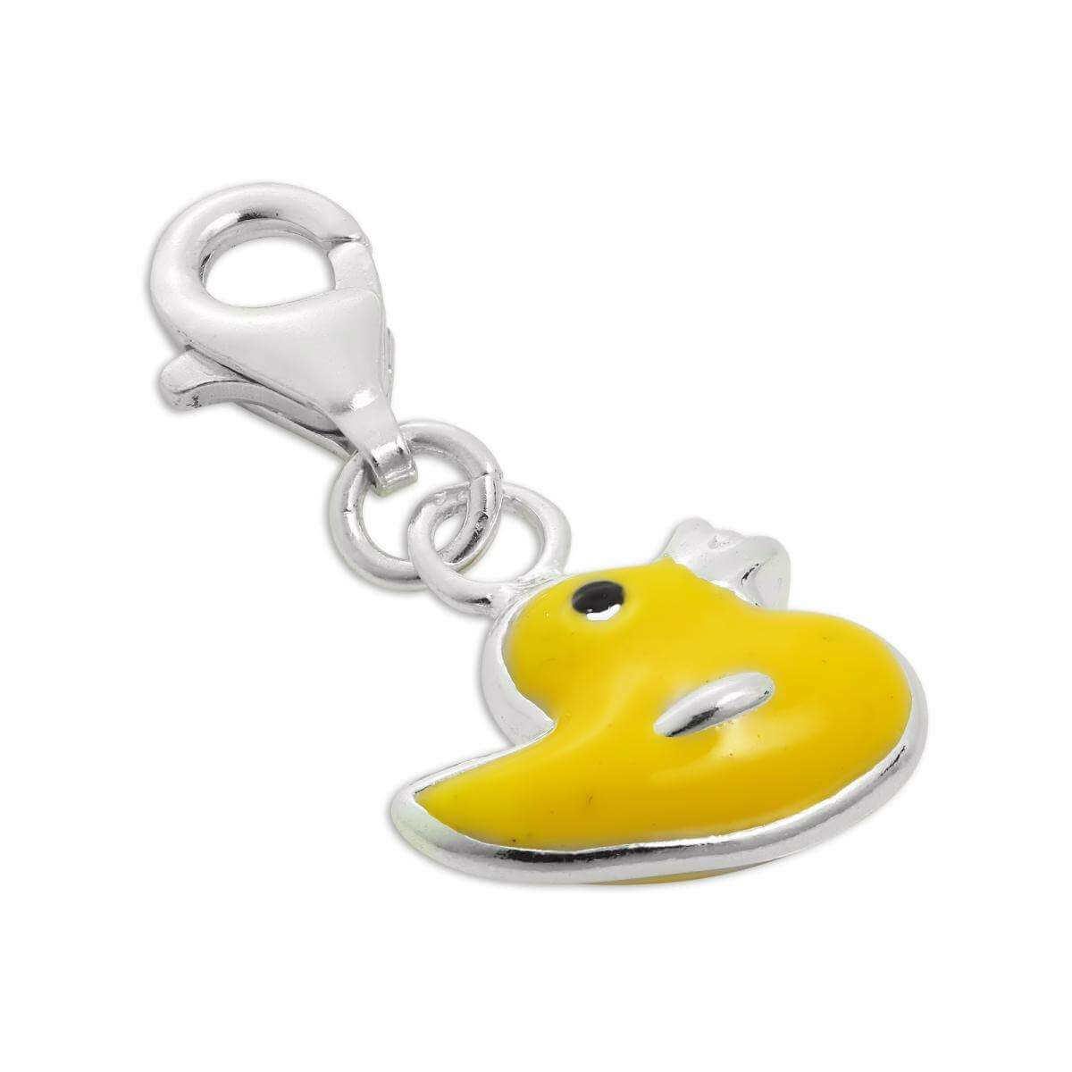 Sterling Silver & Yellow Enamel Duck Clip on Charm