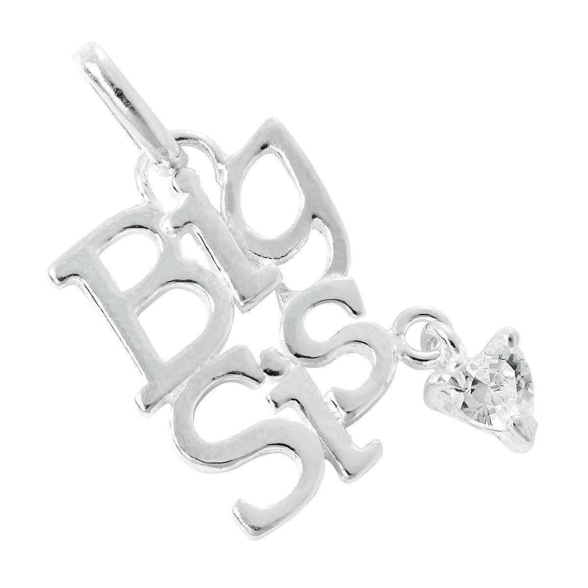Sterling Silver Big Sis Charm with CZ Crystal Heart