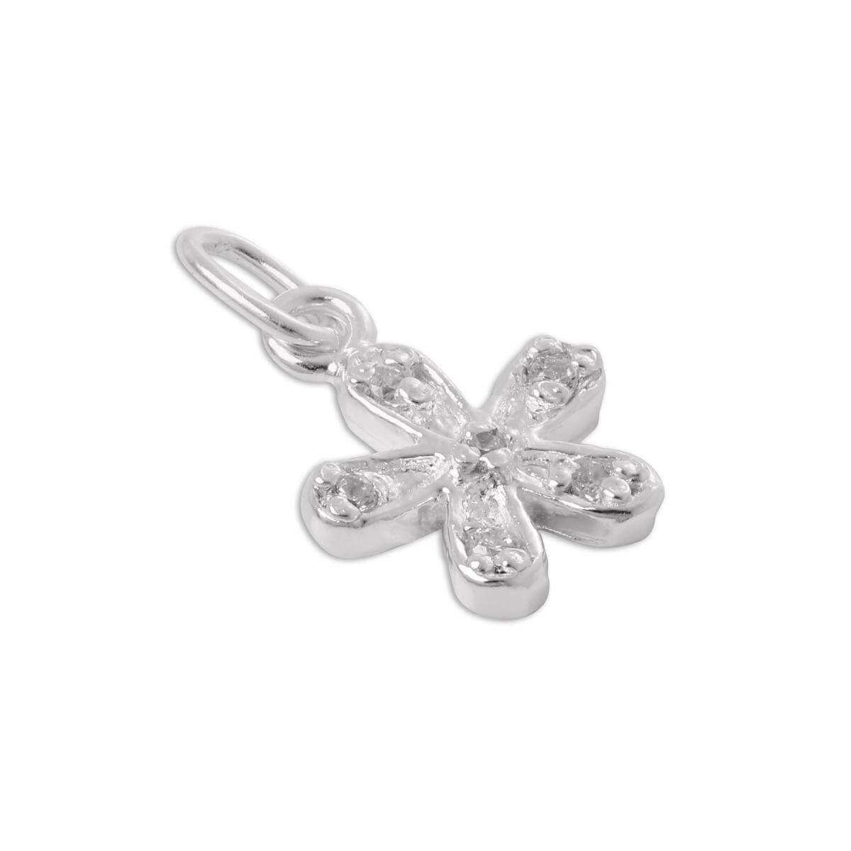 Sterling Silver & CZ Crystal Flower Charm