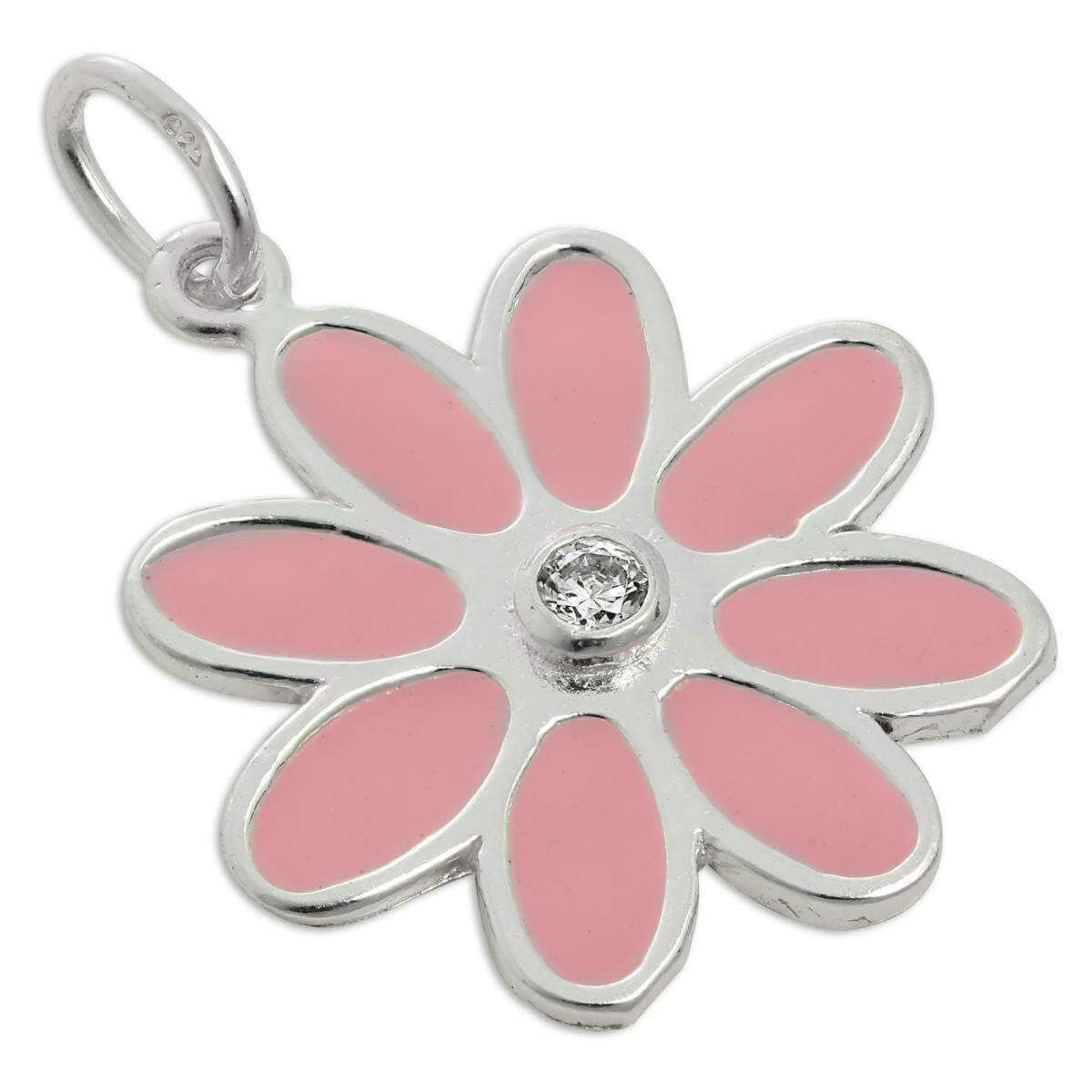 Sterling Silver Pink Enamel & CZ Crystal Flower Charm