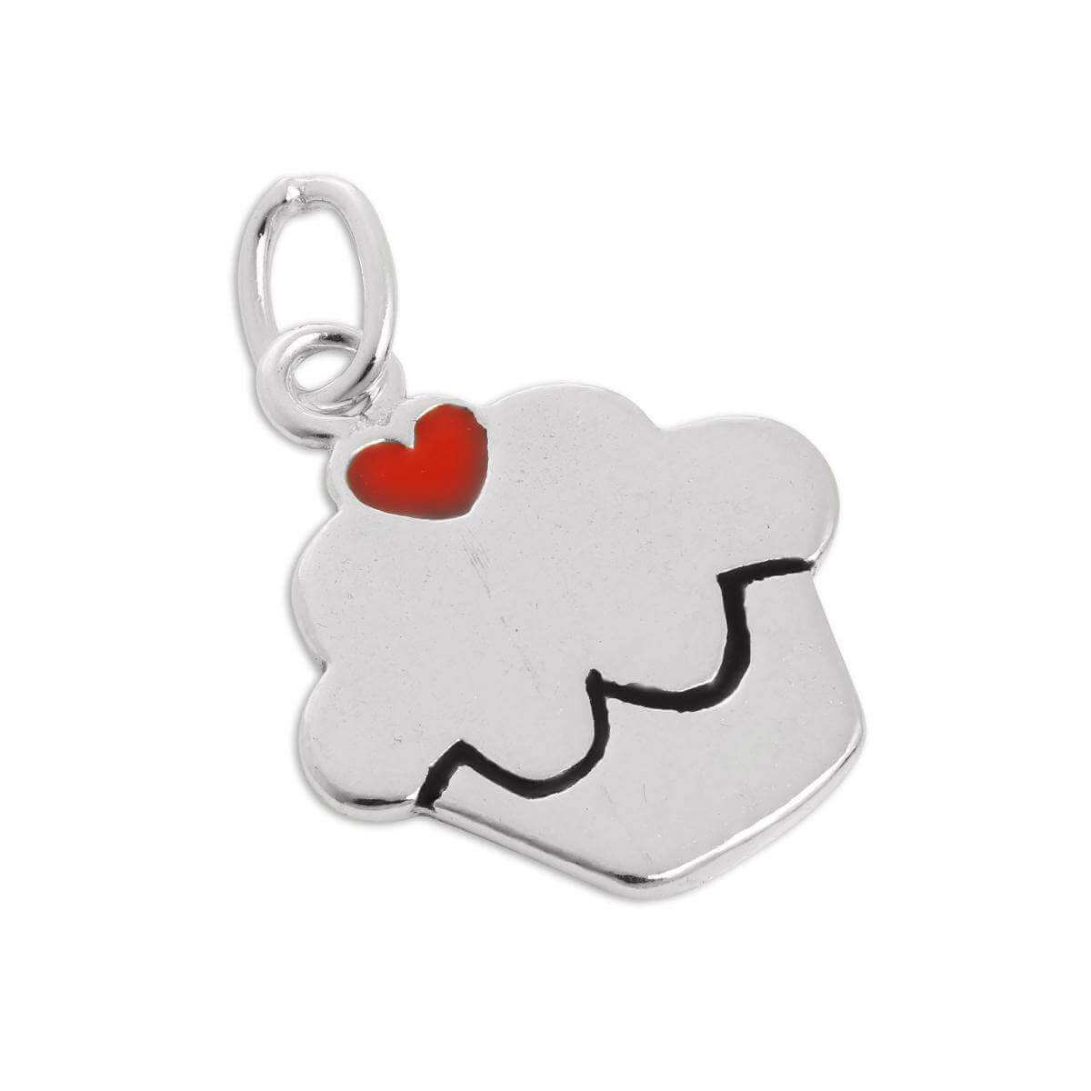 Sterling Silver & Enamel Cup Cake Charm