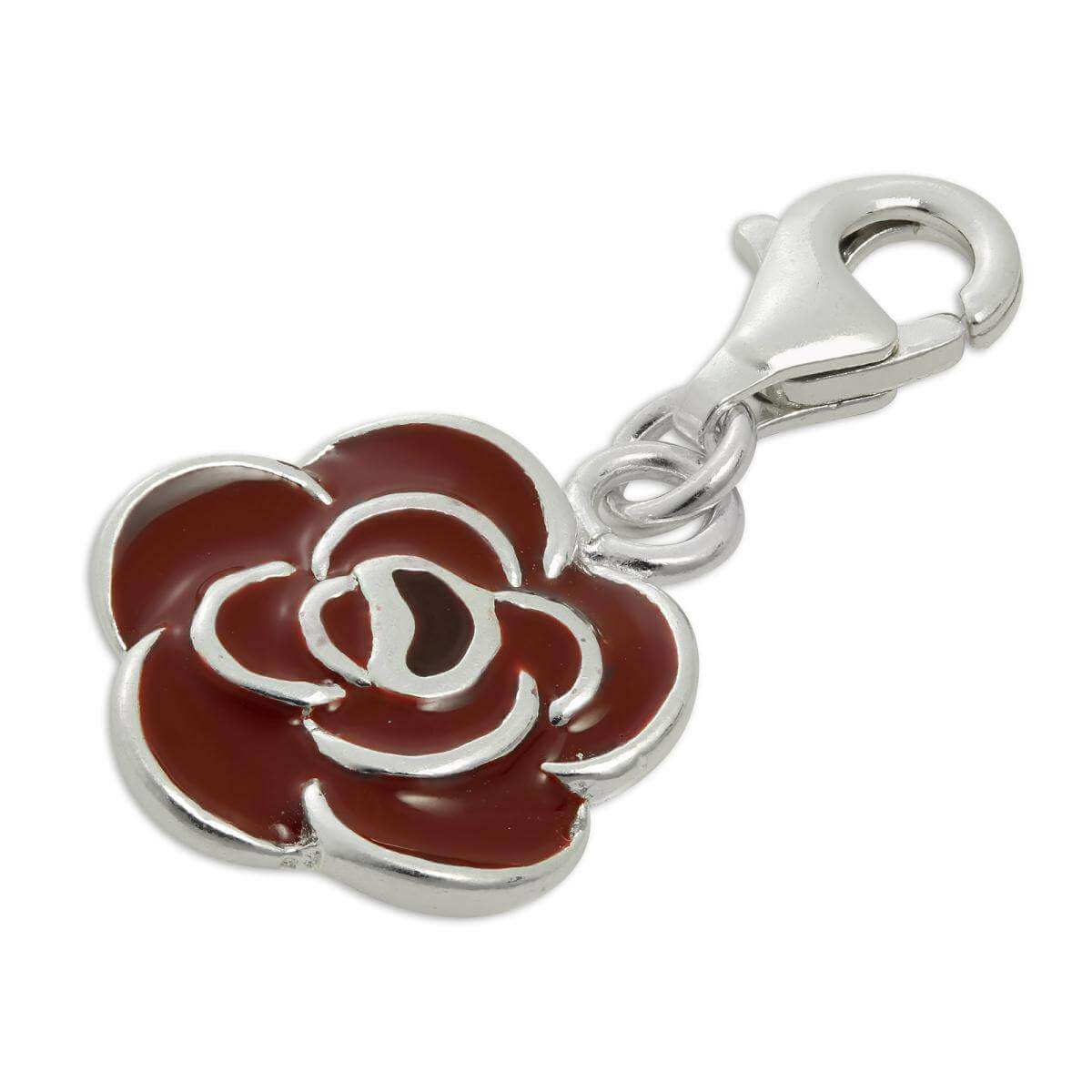 Sterling Silver & Red Enamel Rose Flower Clip on Charm