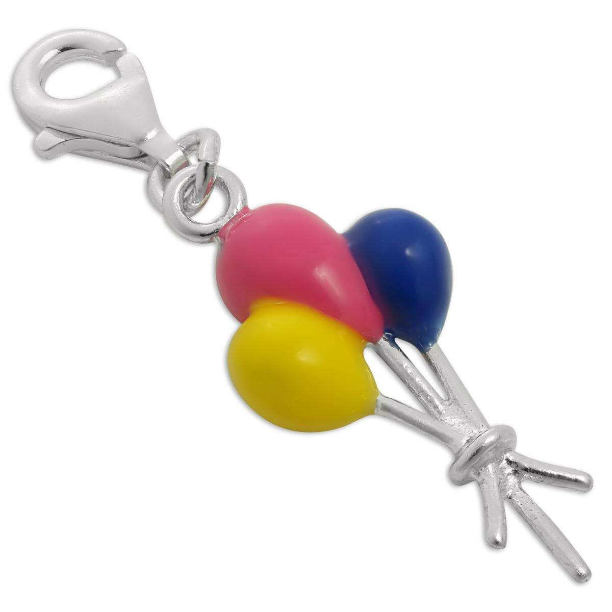 Sterling Silver & Enamel Bunch of Balloons Clip on Charm