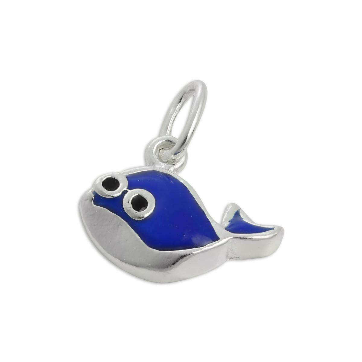 Small Sterling Silver & Blue Enamel Whale Charm