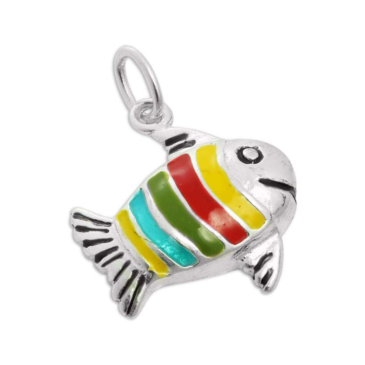 Sterling Silver Multicoloured Enamel Fish Charm