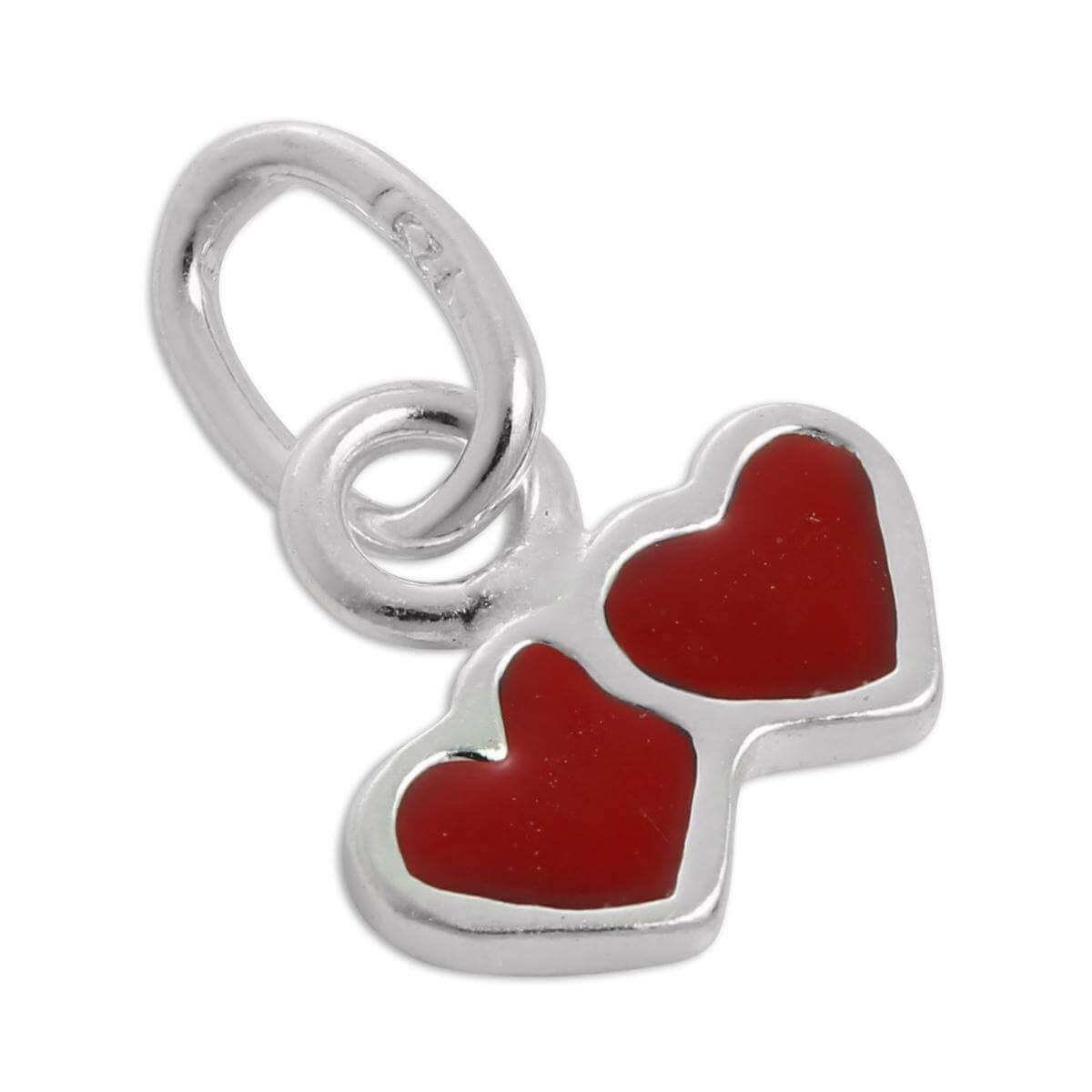 Tiny Sterling Silver & Red Enamel Double Heart Charm